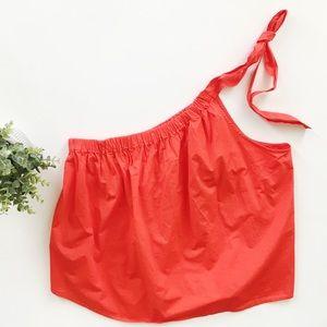 Gap One Shoulder Red Tie Loose Cotton Top